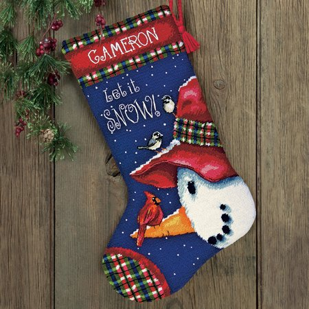 Dimensions-Needlepoint-SnowmanPerchStocking